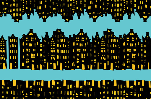 Seamless pattern night in the city