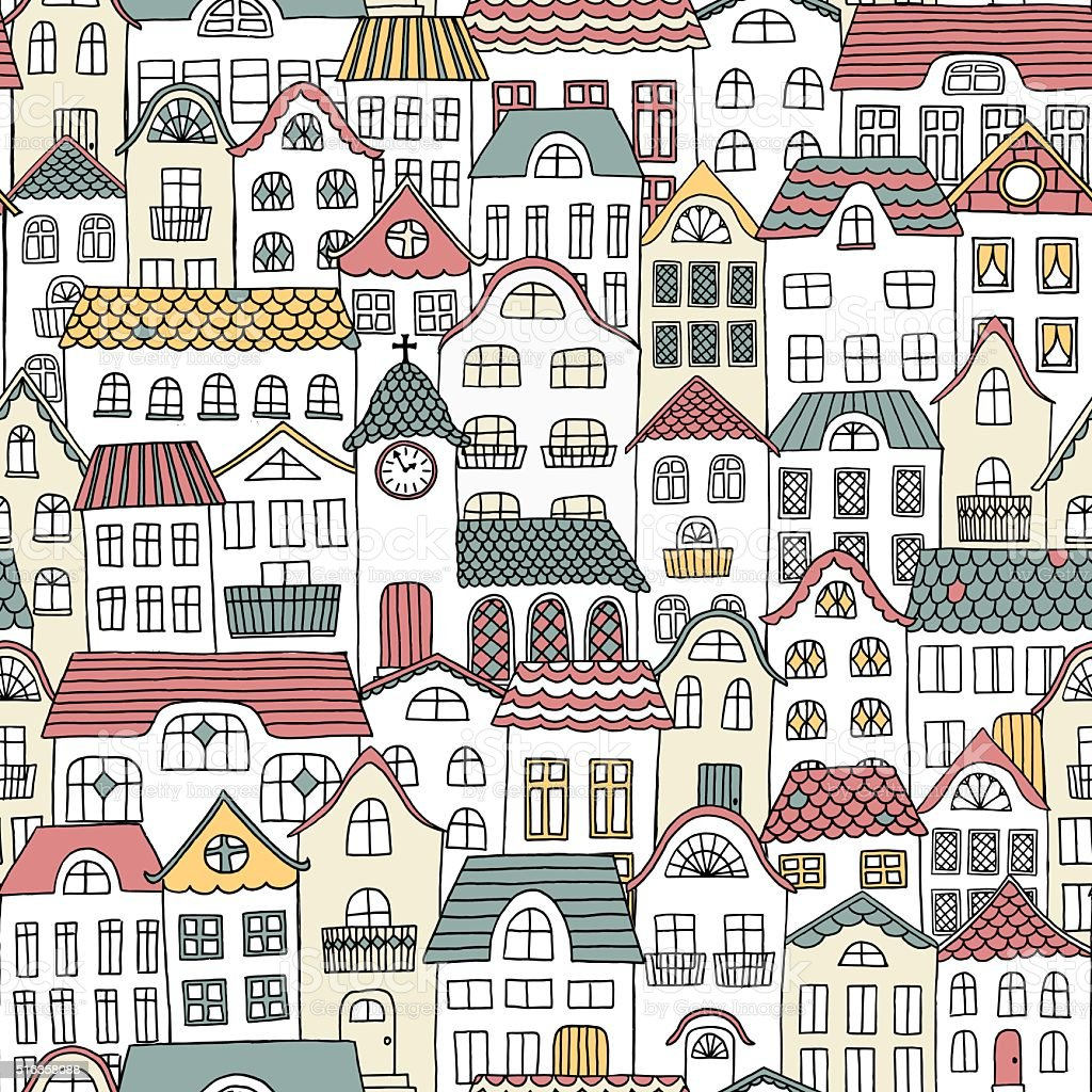 Seamless pattern of a city with a little church vector art illustration