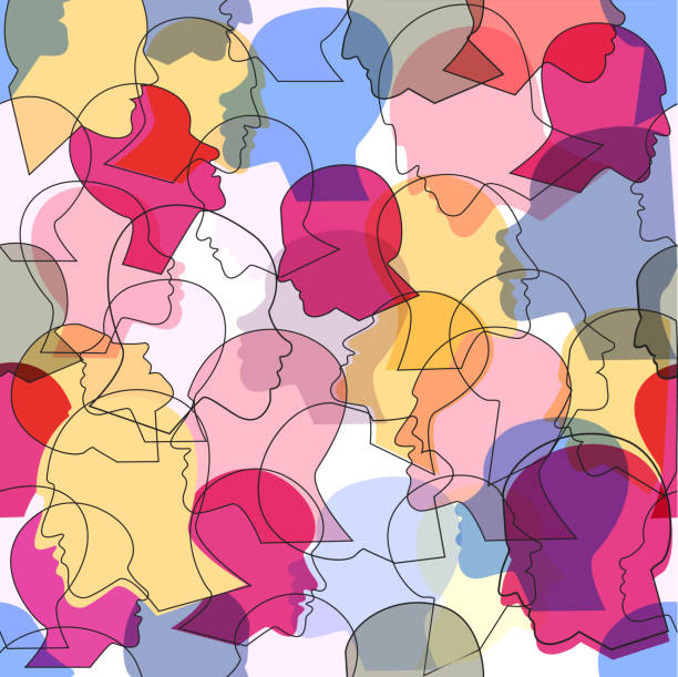 Seamless pattern of a crowd of many different people Seamless pattern of a crowd of many different people profile heads. Vector background. debate stock illustrations