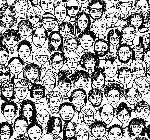 Seamless pattern of a crowd of people, hand drawn Hand drawn simple faces, scanned community drawings stock illustrations