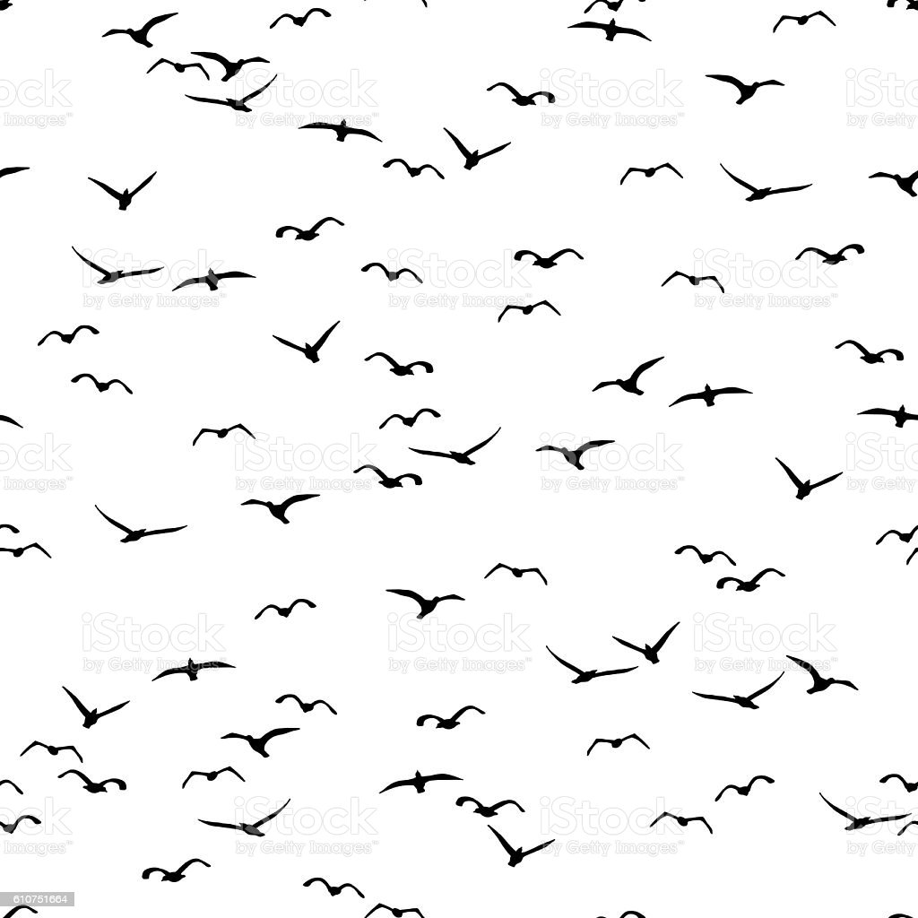 Seamless pattern of a flock of flying birds vector art illustration