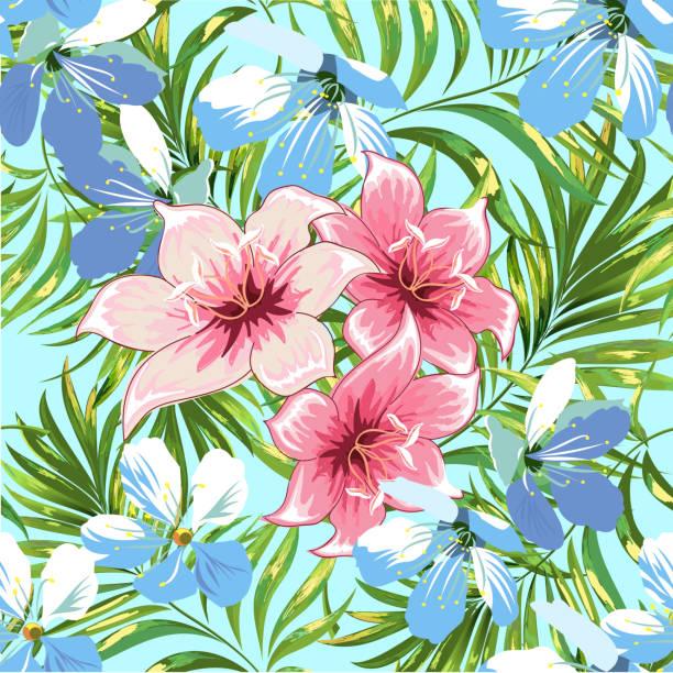 Nahtlose Muster von einer tropischen Palme, Dschungel Blätter und Blüten. Handzeichnung. Vektor Blumenmuster. – Vektorgrafik
