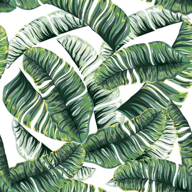 Nahtlose Muster einer tropischen Palme Blätter Dschungel. Vektor Blumenmuster. – Vektorgrafik