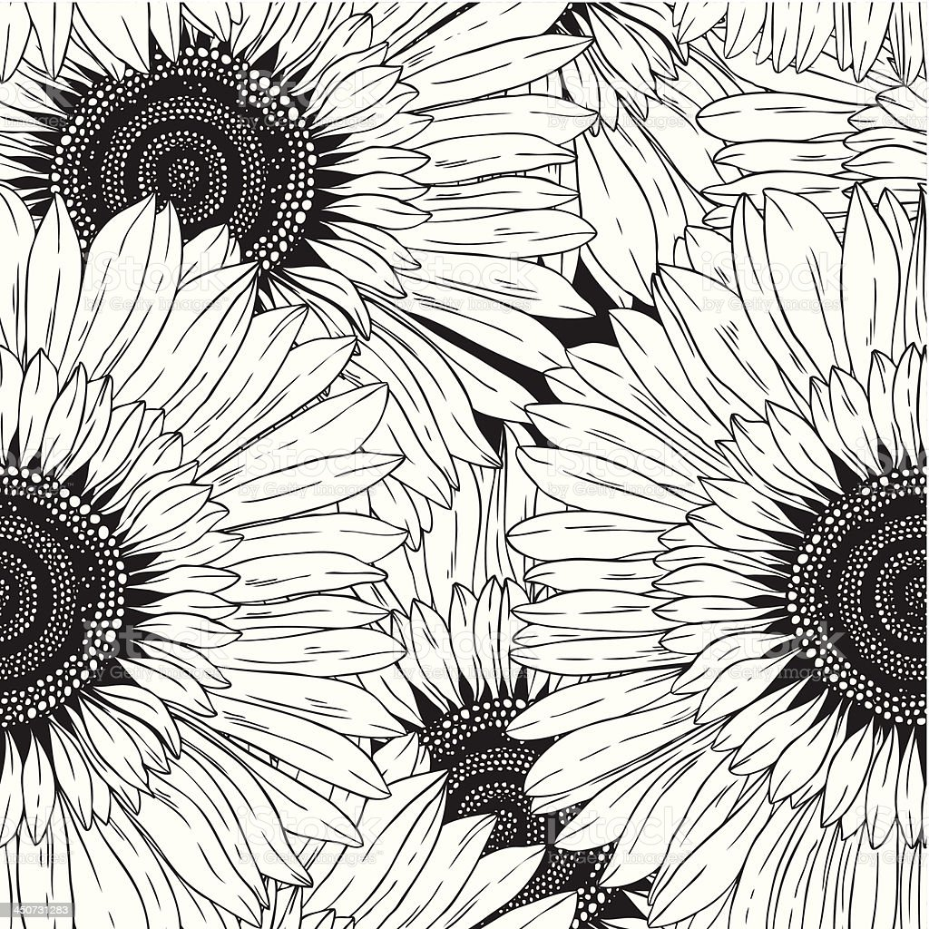 Seamless Pattern Of Abstract Black And White Flowers Stock Vector