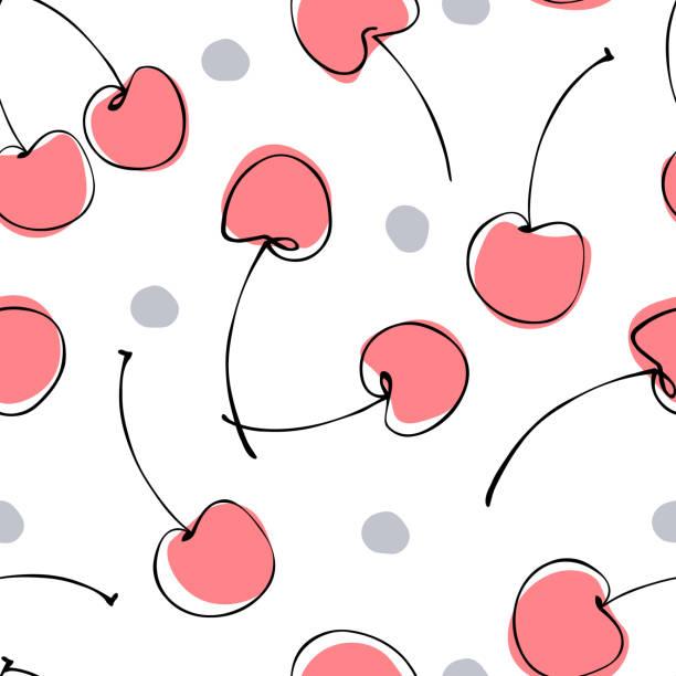stockillustraties, clipart, cartoons en iconen met naadloos patroon van abstracte hand getekende bessen kers op witte achtergrond. fruit illustratie. - kers