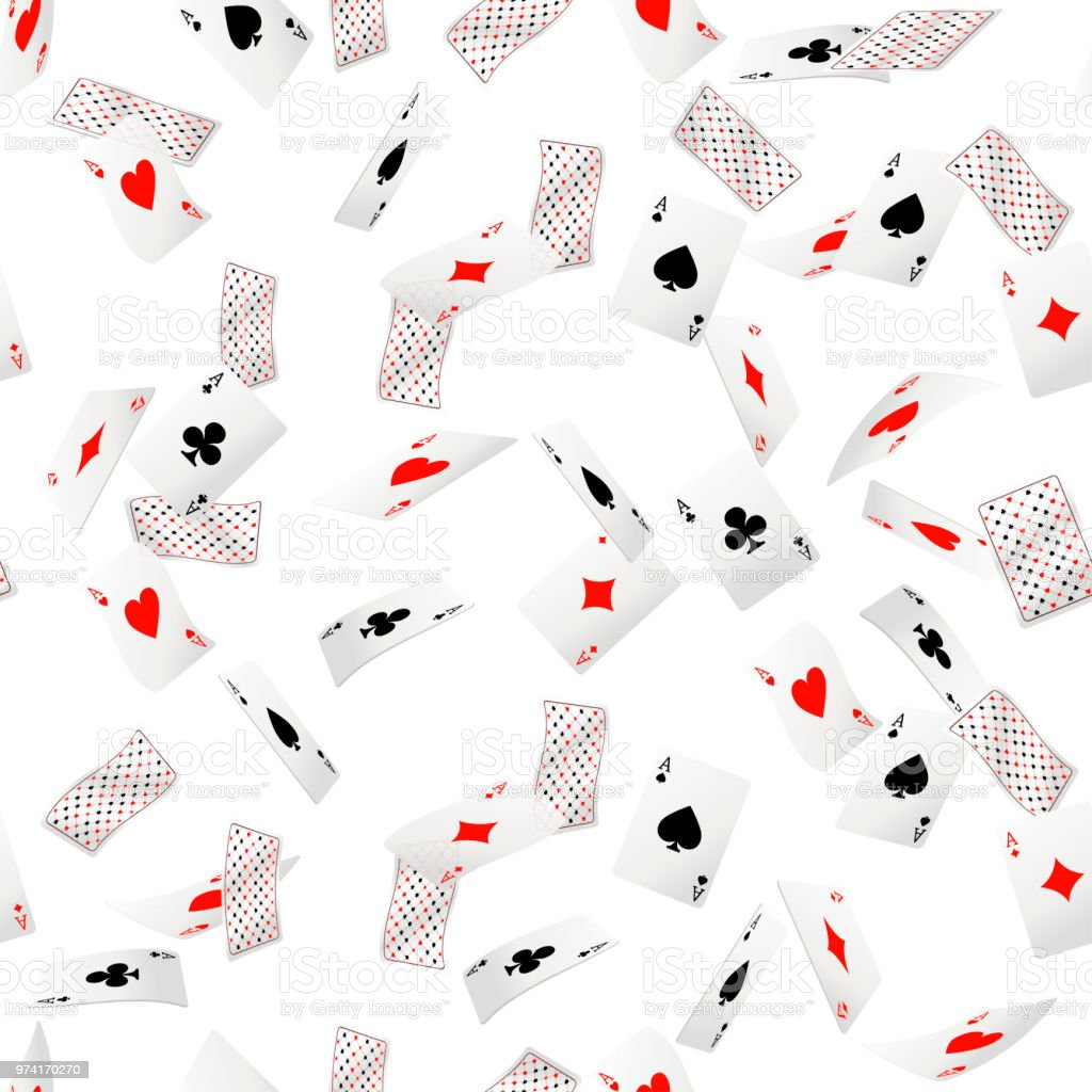 Seamless pattern of ace playing cards. Falling playing cards. Back...