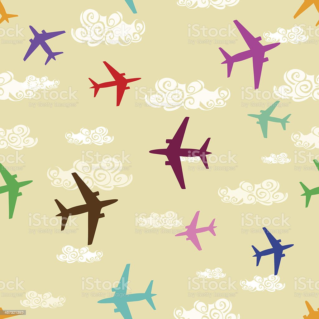 Patrón sin costuras de aviones volando en el cielo - ilustración de arte vectorial