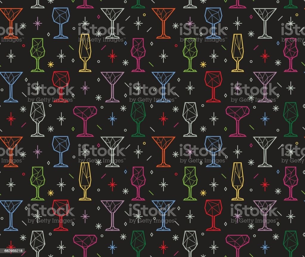 Seamless pattern of alcoholic glasses, martini and wine vector art illustration