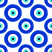 Seamless pattern of amulet against the evil eye and spoilage.
