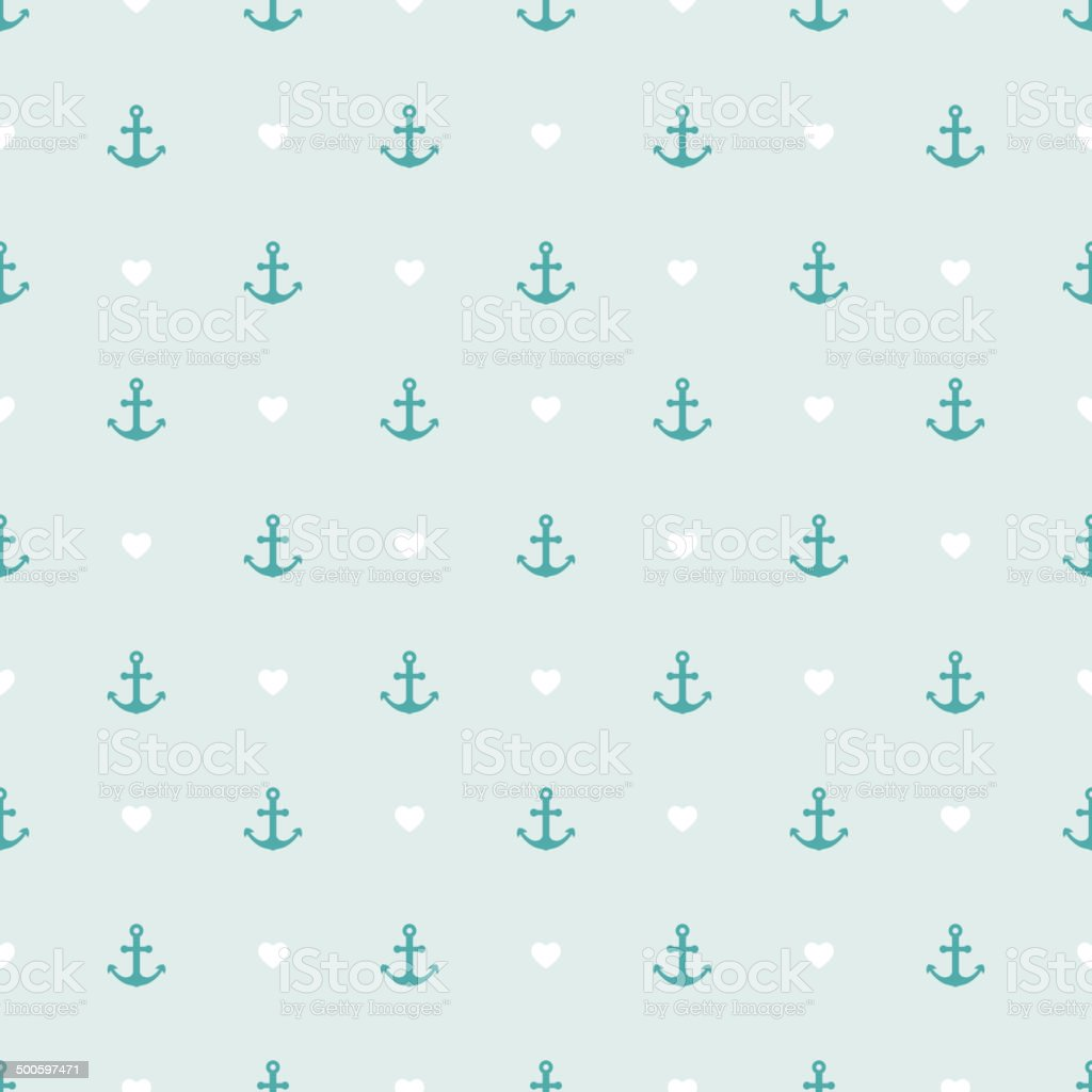 Seamless pattern of anchor and hearts. vector art illustration