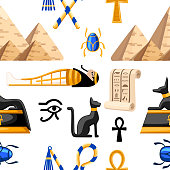 Seamless pattern of ancient Egyptian symbols and decoration. Egypt flat icons vector illustration on white background. Web site page and mobile app design.