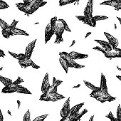 Seamless pattern of angry birds