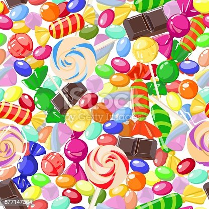 Vector pattern of bright, colorful, sweet candy, marshmallow, caramel and chocolate pieces on white background. Sweets. For children's rooms, cafes and covers, wallpapers, textile products, wrapping paper.