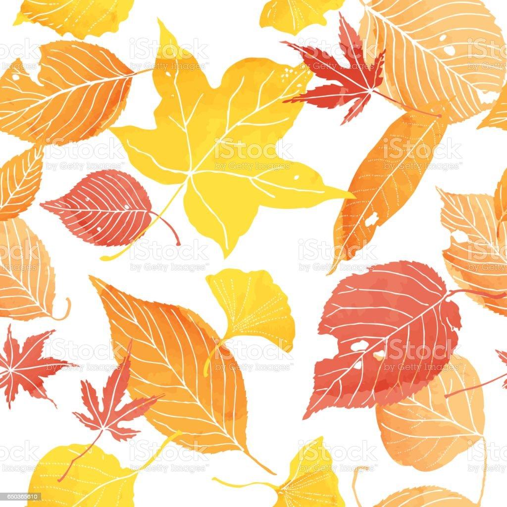 シームレスパターンの秋の葉 ベクターアートイラスト