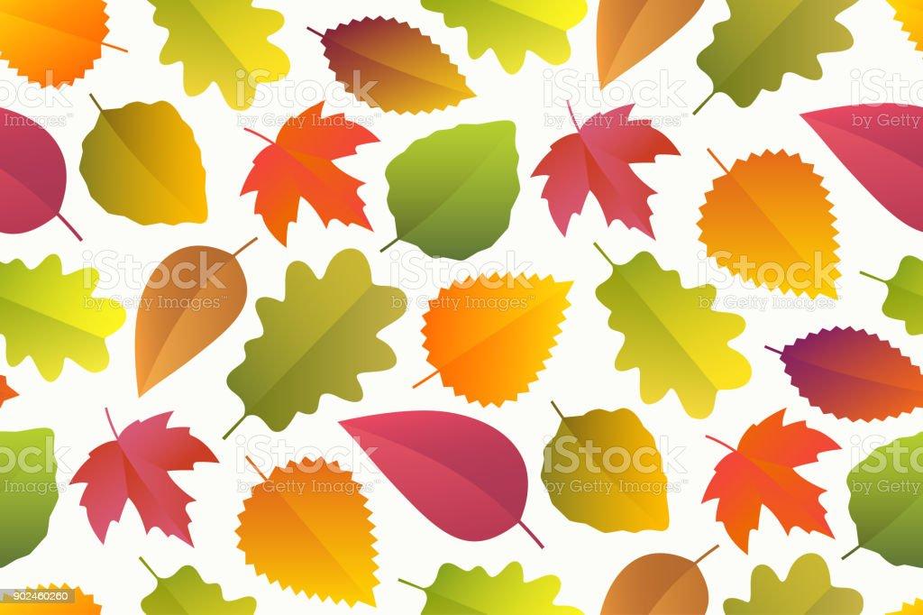 Seamless pattern of autumn leaves vector art illustration