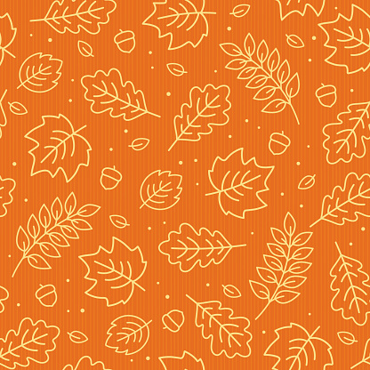 Seamless pattern of autumn leaves. Vector illustration.