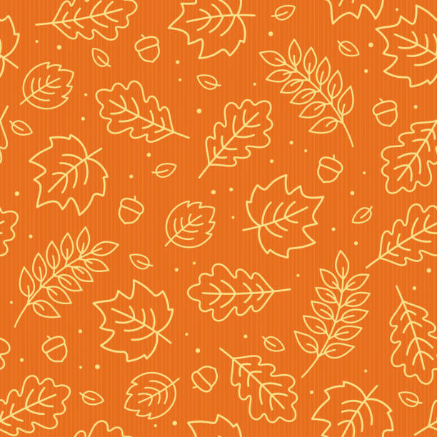 seamless pattern of autumn leaves. vector illustration. - autumn stock illustrations