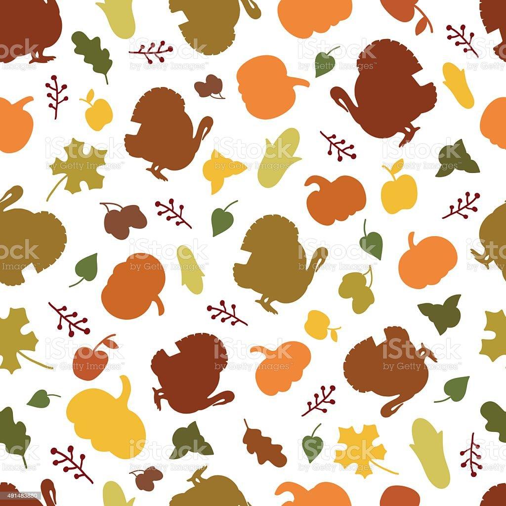 Seamless pattern of autumn symbols. vector art illustration