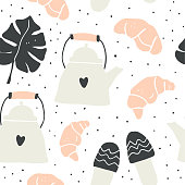 Cute vector seamless pattern of autumn and winter hygge elements - teapot, croissant, monstera leaf, slippers. Isolated on white background. Perfect for textile design. Scandinavian style