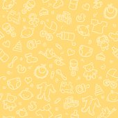 seamless pattern with baby boy and baby girl related hand drawn elements
