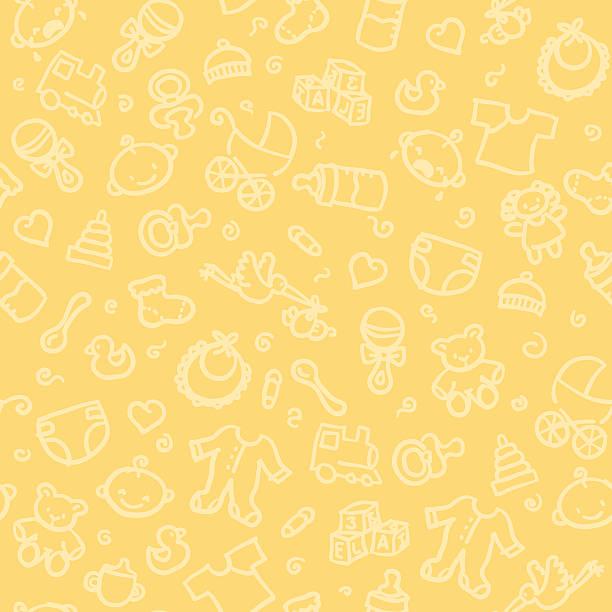 stockillustraties, clipart, cartoons en iconen met seamless pattern of baby supplies - background baby