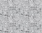 seamless doodle back to school pattern - vector illustration