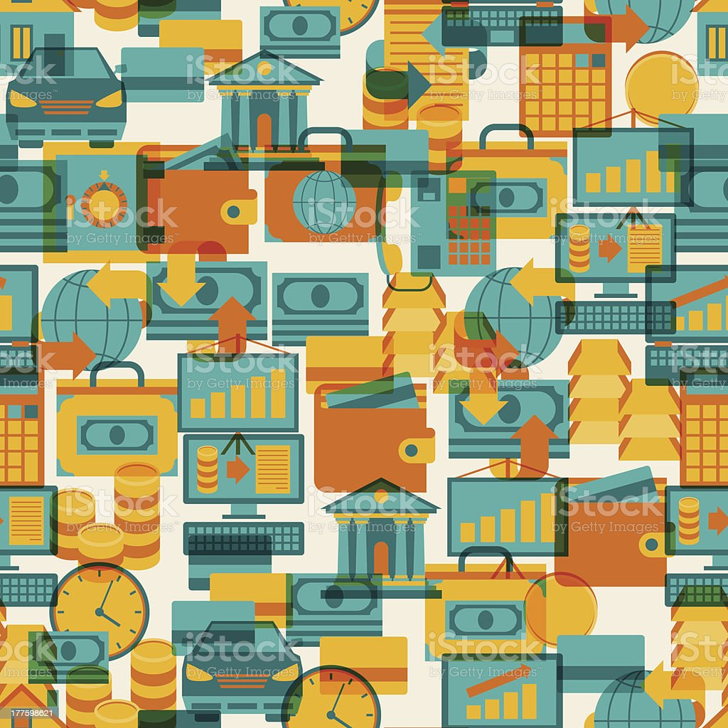 Seamless pattern of banking icons. royalty-free seamless pattern of banking icons stock vector art & more images of backdrop