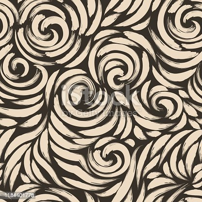 istock Seamless pattern of beige brush strokes on a brown background .Vector blank for design of fabrics and curtains. Seamless pattern for decoration. 1184401778