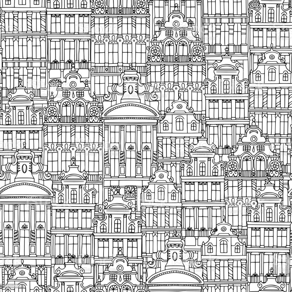 Patrón sin fisuras de casas belgas - ilustración de arte vectorial
