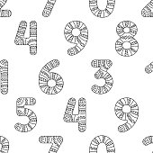 Seamless pattern of decorated numbers, black and white decorative ornamental fancy hand drawn figures. One, two, three, four, five, six, seven, eight, nine and zero