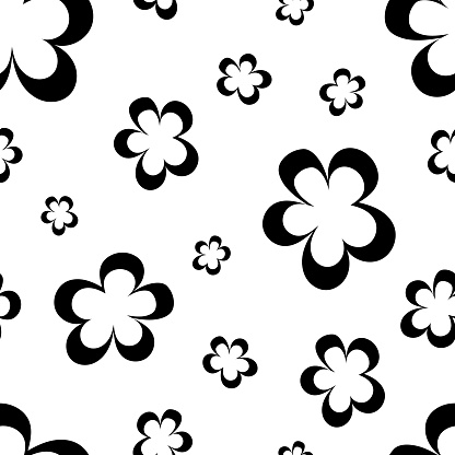 Seamless pattern of black flowers, abstract texture, vector floral print. Seamless simple black white abstract pattern.