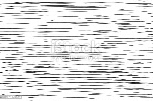 istock Seamless pattern of black lines on white, hand drawn lines abstract background 1289921005