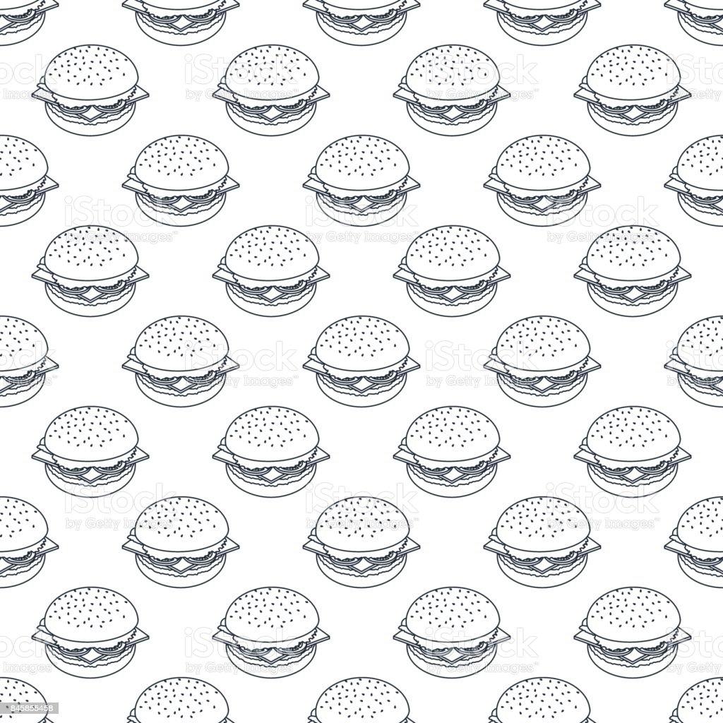 seamless pattern of black outline burgers vector art illustration