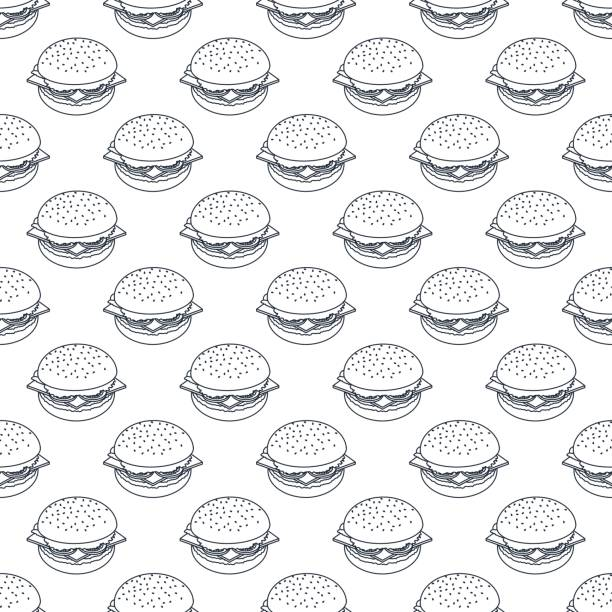 seamless pattern of black outline burgers Vector seamless pattern of black outline burgers. Background for banner, packaging, menu. cheeseburger stock illustrations