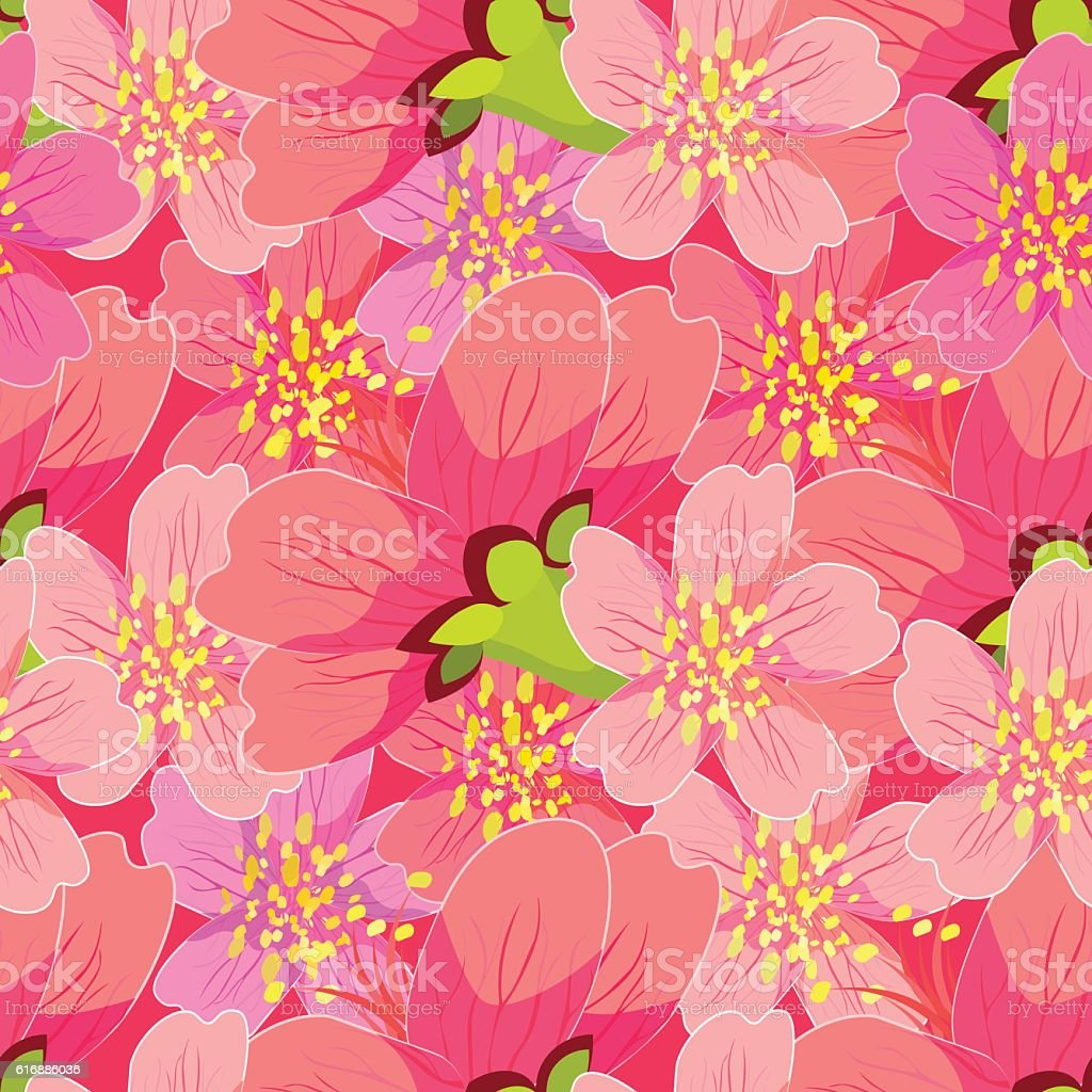 seamless pattern of blossoming cherry Japanese and Chinese close vector art illustration