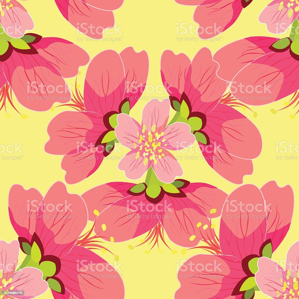seamless pattern of blossoming Japanese and Chinese cherries mac vector art illustration