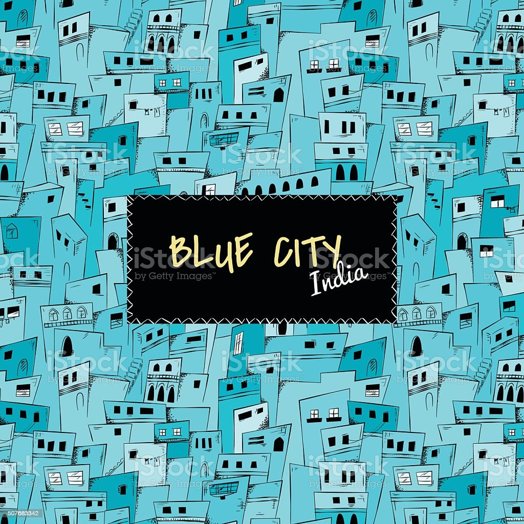 Seamless pattern of blue city. India vector art illustration