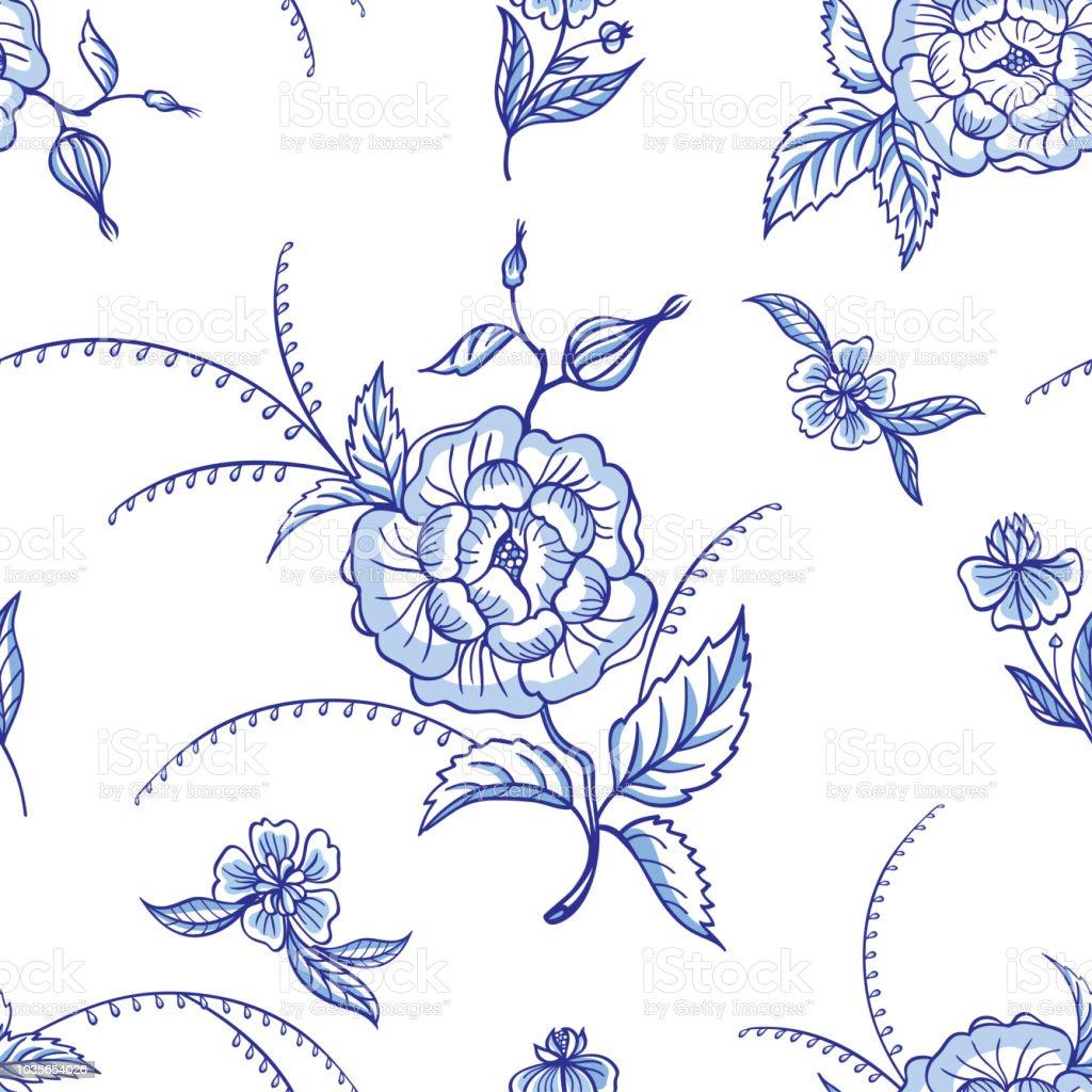 Ilustracion De Patron Sin Fisuras De Flores Azules Sobre Fondo