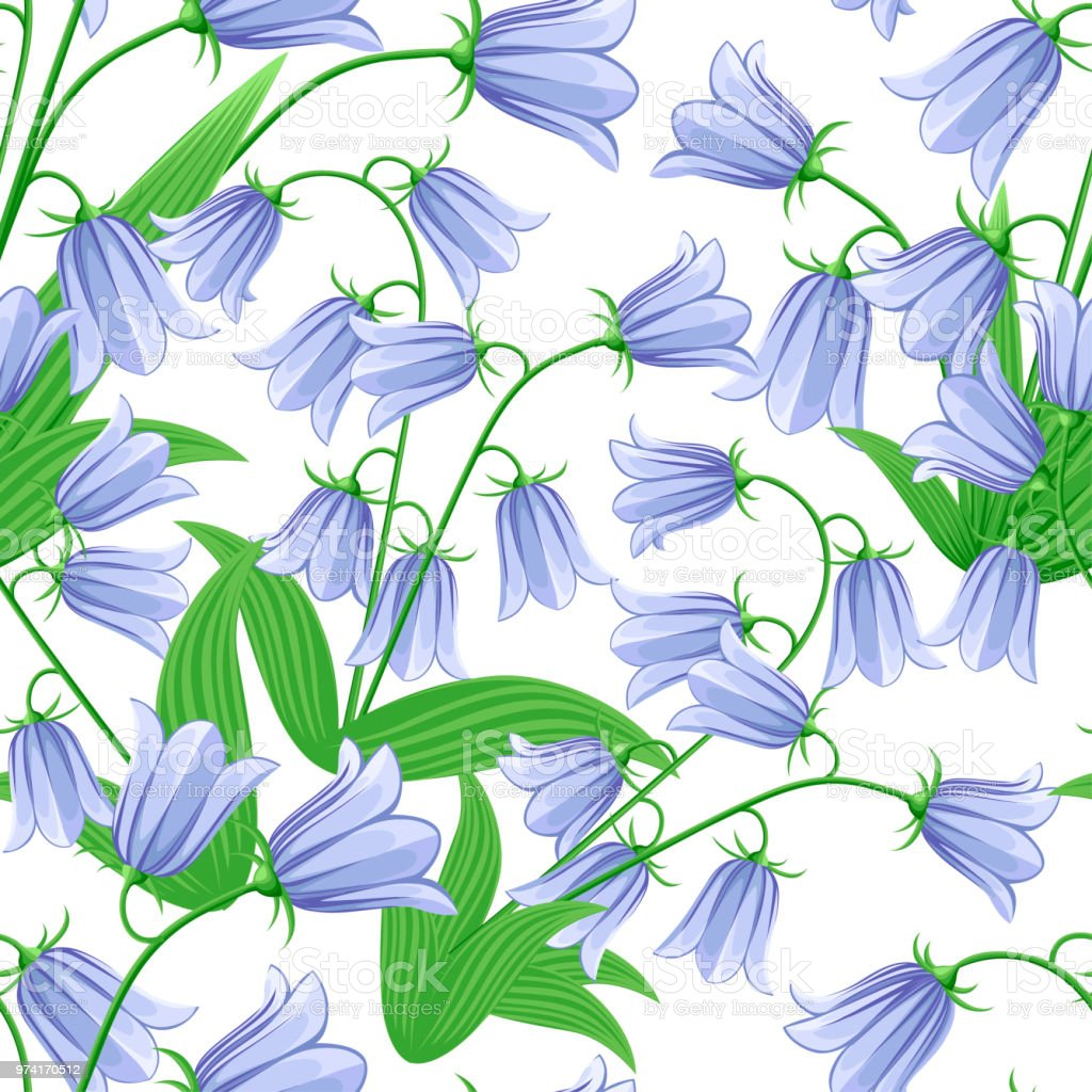 Seamless pattern of bluebells bluebell flowers with green leaves seamless pattern of bluebells bluebell flowers with green leaves vector illustration on white background mightylinksfo
