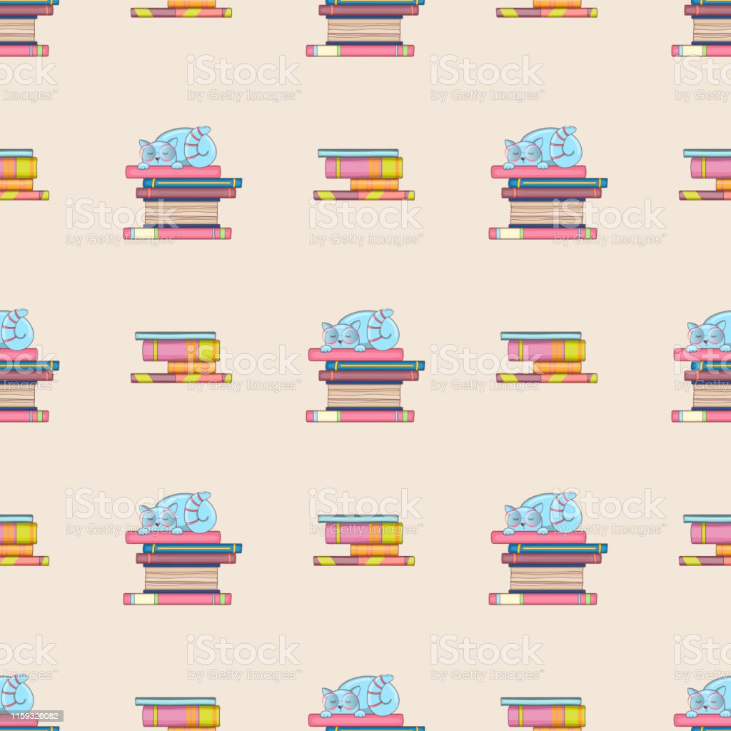 Seamless pattern of books and cute clever cats. Doodle illustration....