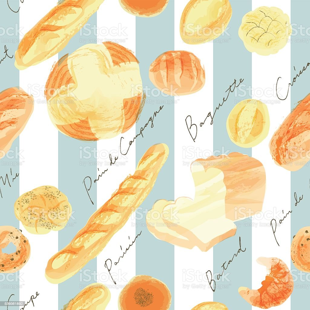 seamless pattern of breads and stripes vector art illustration