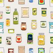 Seamless pattern of canned food. Preserved food in cans, glass jars, metal cans, packs of cereals