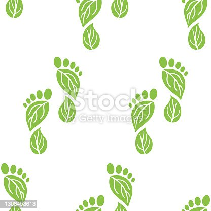 istock Seamless pattern of carbon footprint icons. CO2 ecological footprint symbols with green leaves. Greenhouse gas emission. Environmental and climate change concept 1308453613