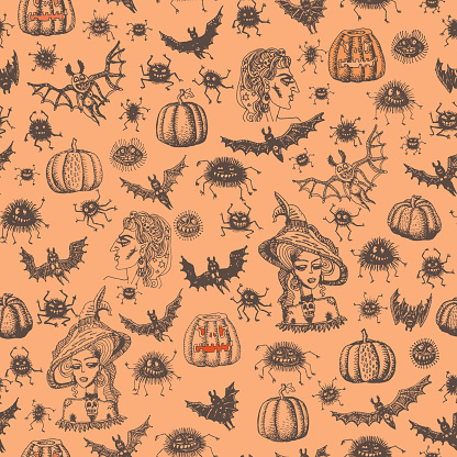 Seamless pattern of cartoon brown witch, spiders, bats silhouette on a red orange background. Halloween party decoration, wrapping paper print, batik paint, adults coloring book page