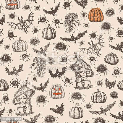 Seamless pattern of cartoon brown witch, spiders, bats silhouette on a beige background. Halloween party decoration, wrapping paper print, batik paint, adults coloring book page