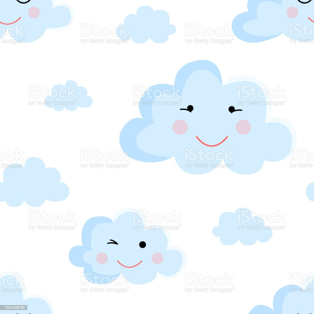 Seamless Pattern Of Cartoon Clouds In Blue Shades Illustration For A