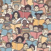 """Children reading colorful books, """"back to school"""" vector background with diverse school kids"""