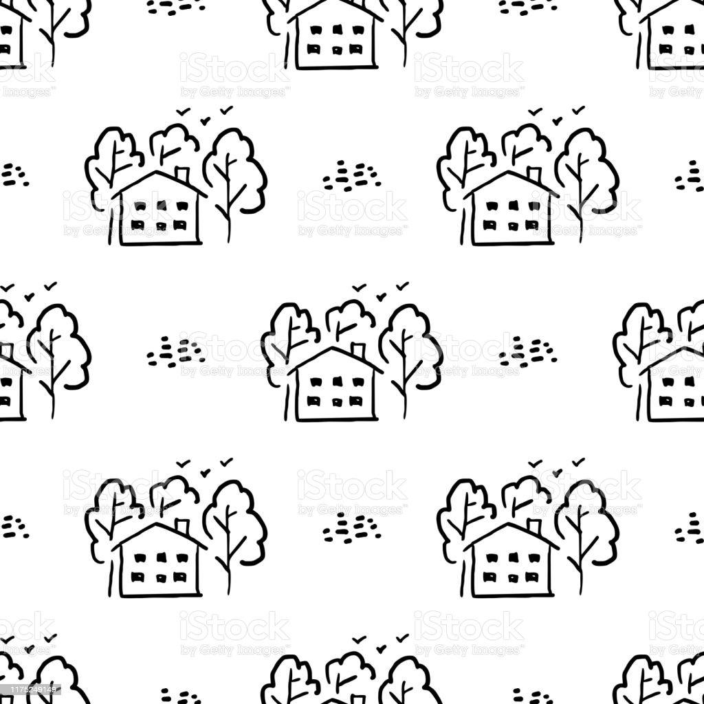 Dessin D Une Chambre D Enfant motif sans couture du dessin denfants maison soleil nuages