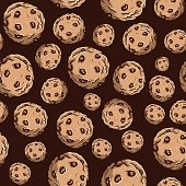 Seamless pattern of chocolate chip cookies. Repetitive background of sweet round biscuits with brown cream on top.