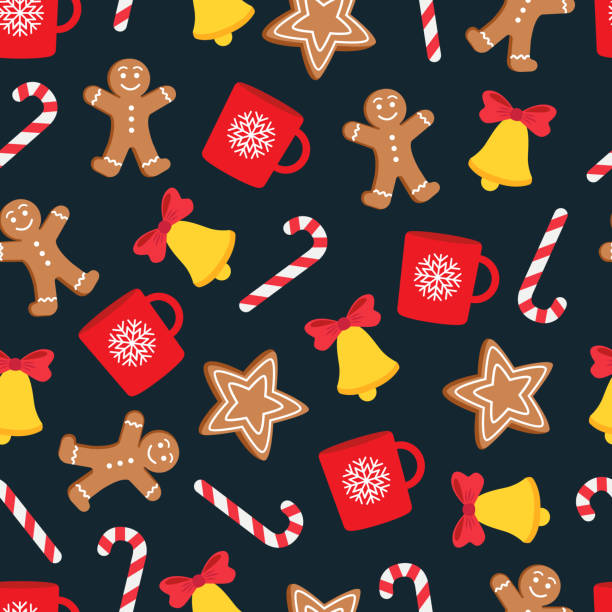 Seamless pattern of Christmas and New Year symbols. Gingerbread man, candy, cup, bell, star pattern. Vector illustration. gingerbread man stock illustrations